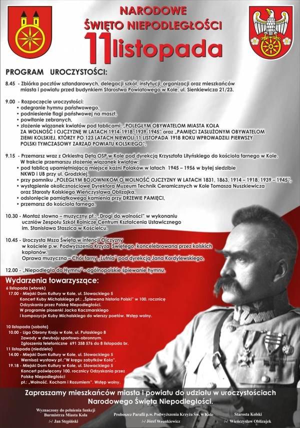 Program Obchodów Narodowego święta Niepodległości Kolski